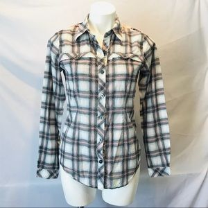 CAbi- long sleeve - plaid and floral to